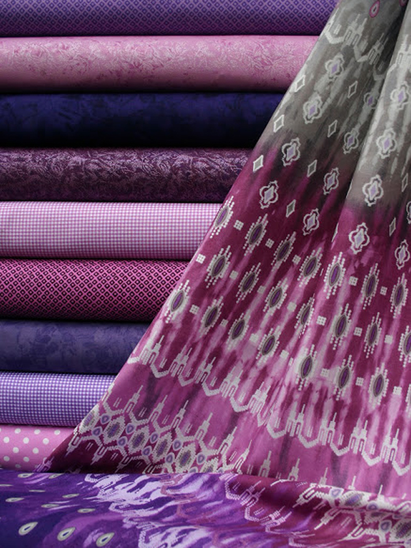 Fabrics in radiant orchid colors.