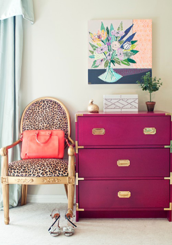 Painted orchid dresser.