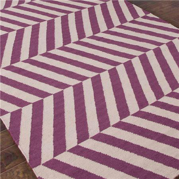 Herringbone rug in orchid color.