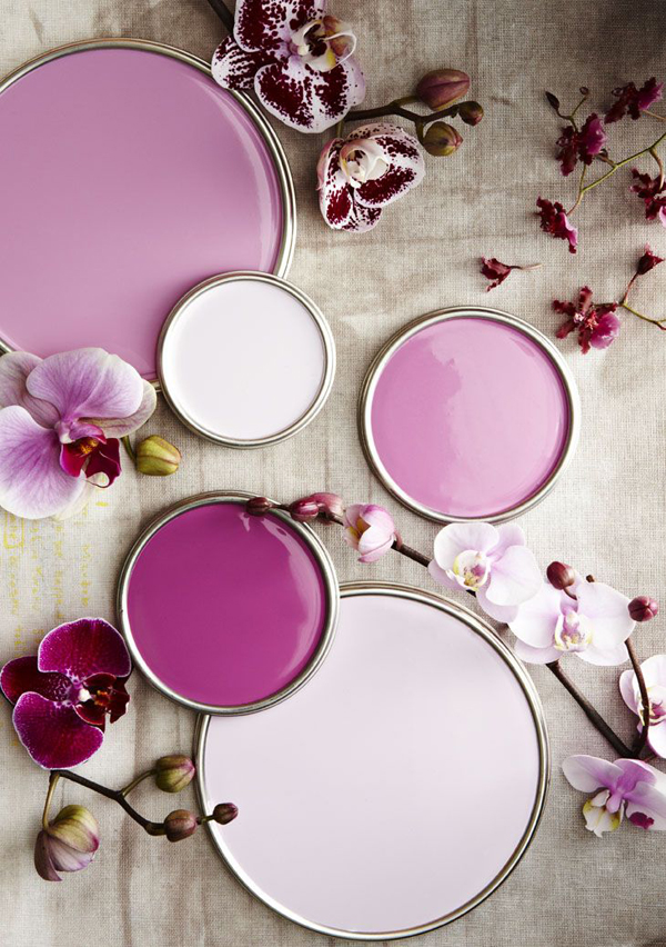 Paint lids showing radiant orchid color palette.