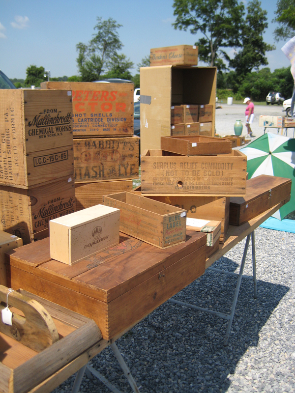 Collection of antique boxes.
