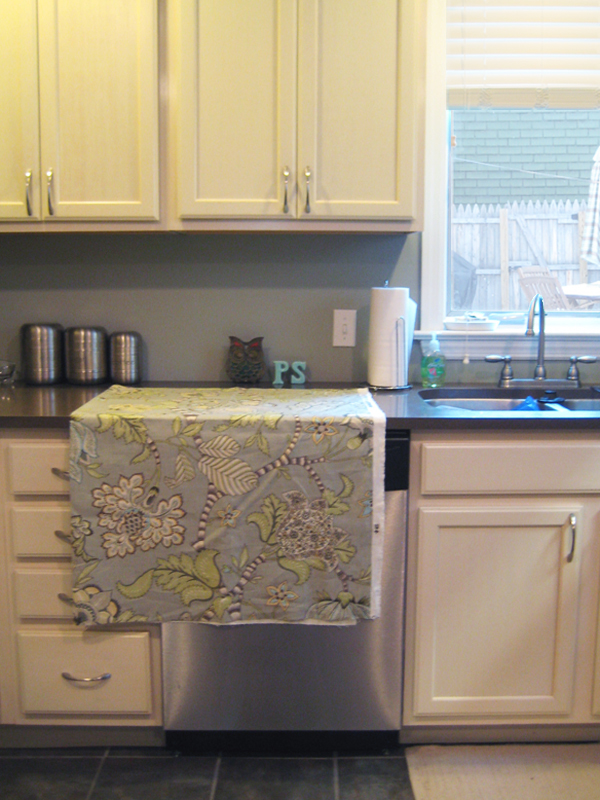 Fabric shown laying on the counter.