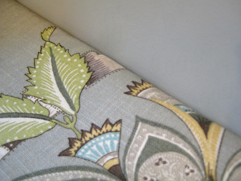 Close-up photo of the fabric and wall color.