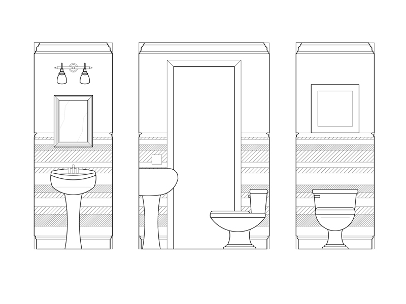 AutoCad drawing showing paneling design.