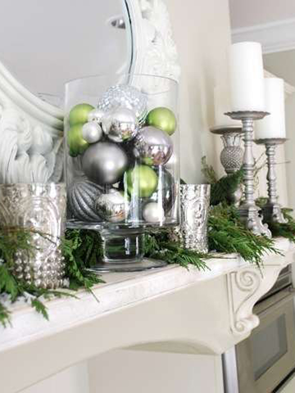 Green and silver decor.