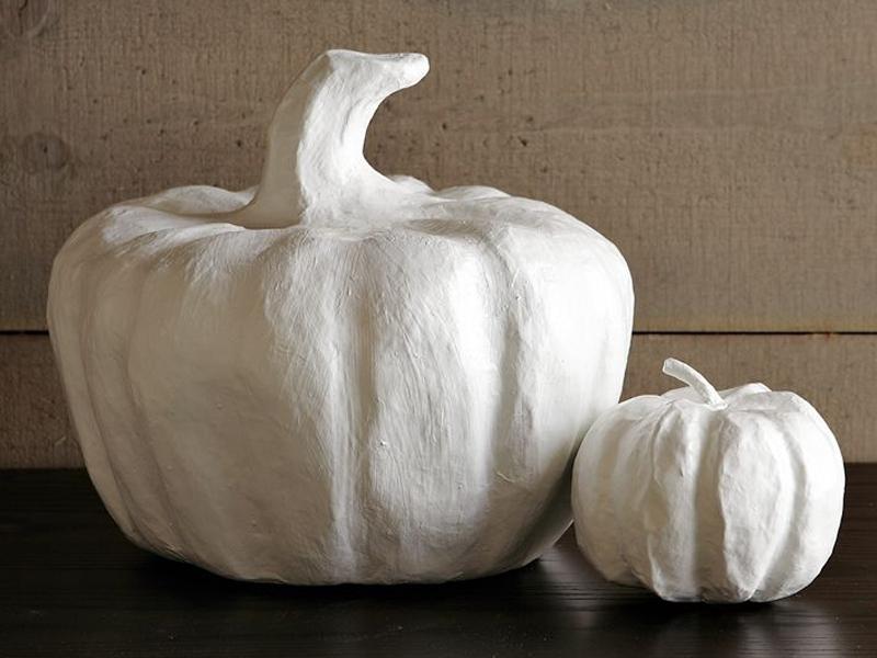 Paper mache pumpkins.