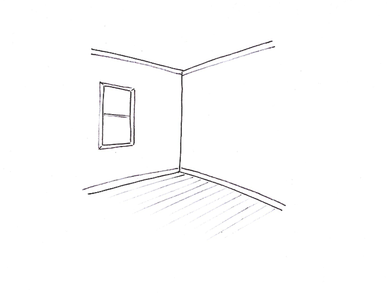Sketch of walls, ceiling and floor.