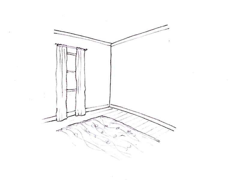 Sketch showing walls, ceiling, floor with window treatments and rug.