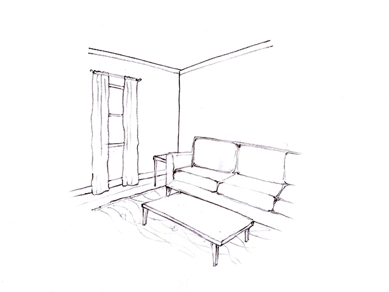 Sketch showing room with sofa and coffee table.