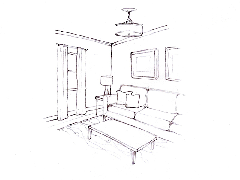 Sketch of a room with sofa, coffee table, lighting and artwork.