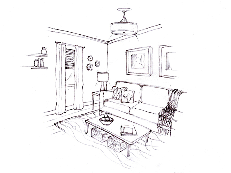 Sketch of a fully layered room with furnishings, decor and accessories.