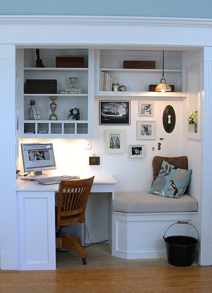Desk nestled into a nook.