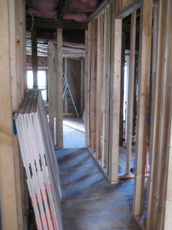 View of hallway during renovation