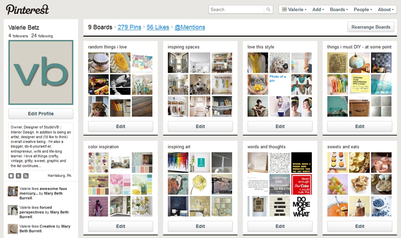 My Pinterest pin boards.