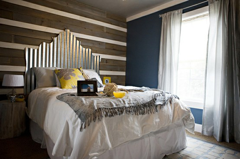 Corrugated metal headboard.