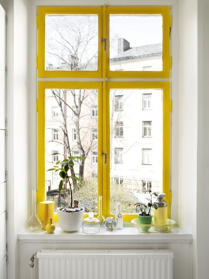 Yellow window frame