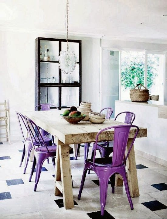 Purple chairs and wooden dining table