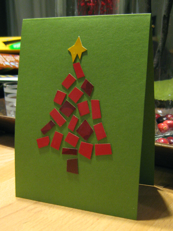 Handmade recycled mosaic Christmas tree card