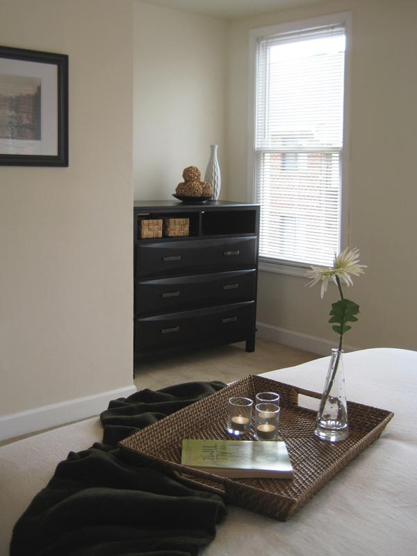Dresser shown in a niche.