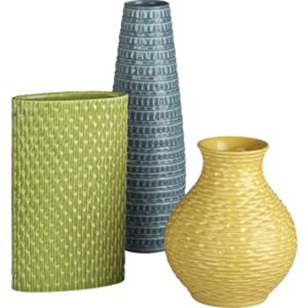 Textured vases in spring-y colors.