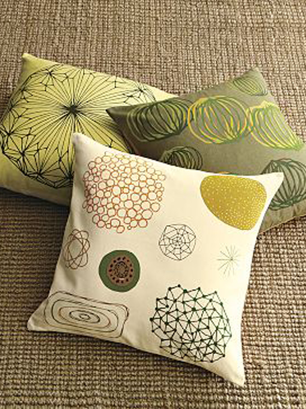 Spring colored toss pillows.