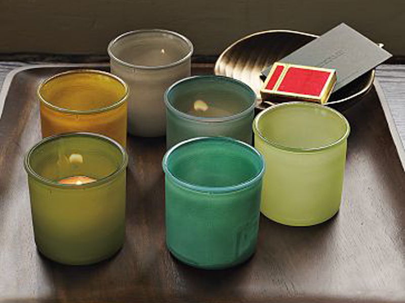 Recycled glass votives.