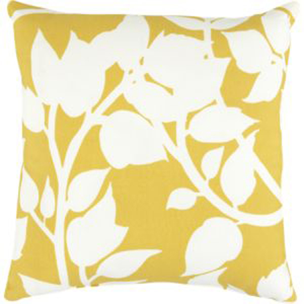 Yellow toss pillow with foliage design.