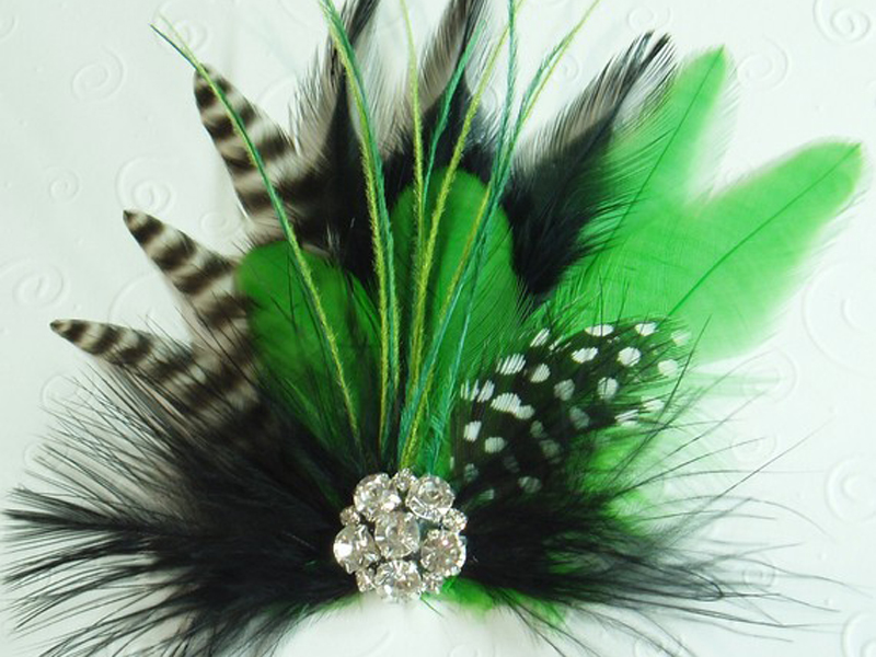 Handmade feather hair clip