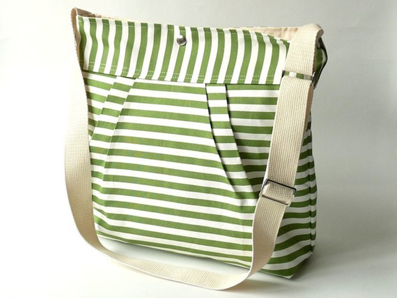 Green stripe messenger bag