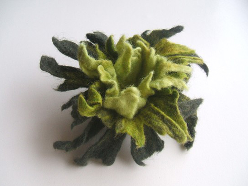 Handmade green felt flower brooch