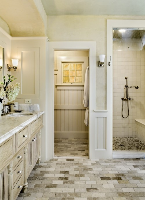 Bathroom with subtle color palette.