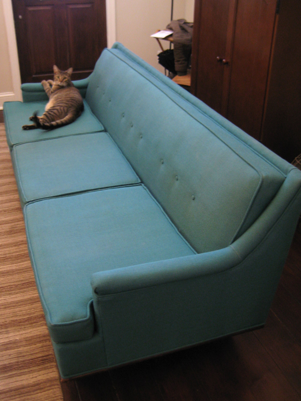 Blue-green mid-century modern sofa in living room.
