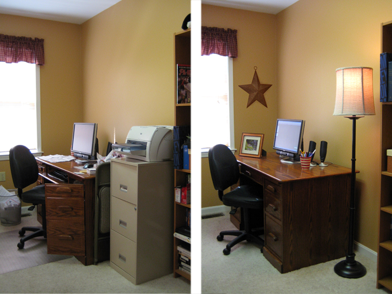 Before and after shots of a home office that has been staged.