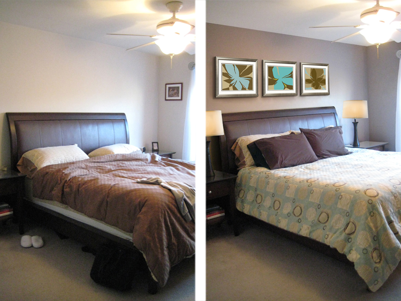 Before and after shots of a bedroom that has been staged.