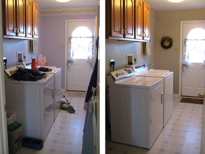 Before and after shots of a laundry room that has been staged.