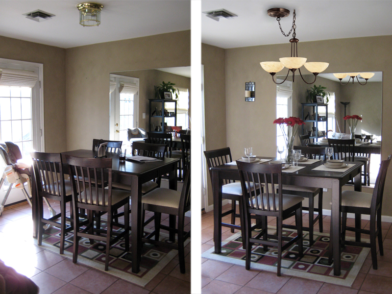 Before and after shots of a dining room that have been staged.