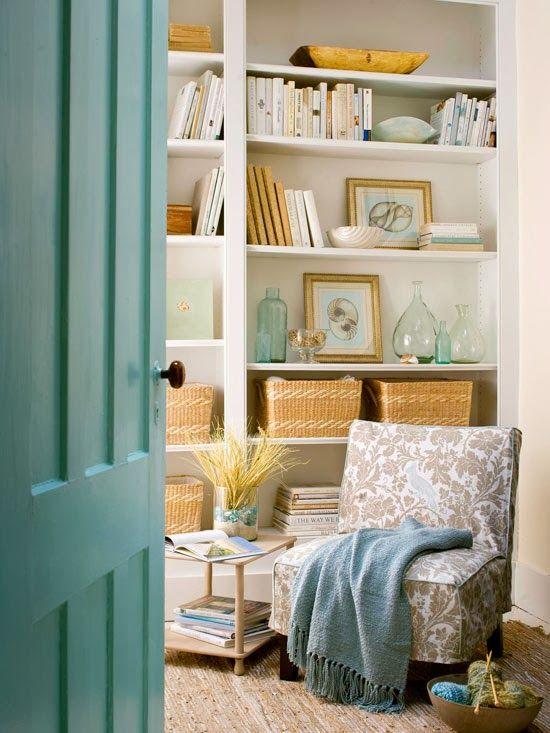 Built-in shelves with decorative storage.