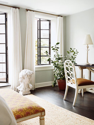 Open airy window treatments.