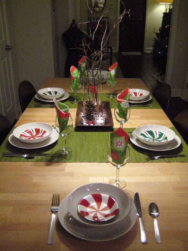 Christmas tablescape with peppermint bowls