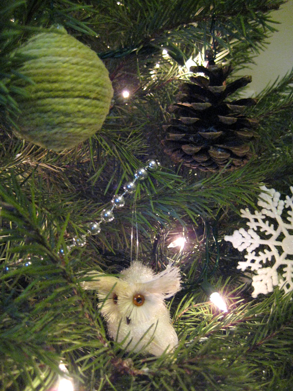 Close-up of ornaments on the Christmas tree