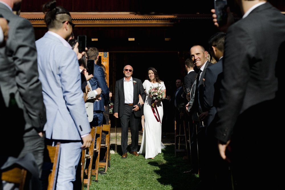 Bride and Dad walking down Isle.