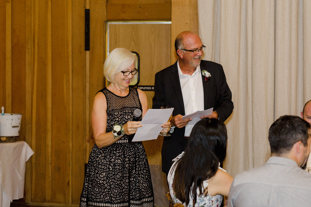 Parents giving toast at Wedding Reception.