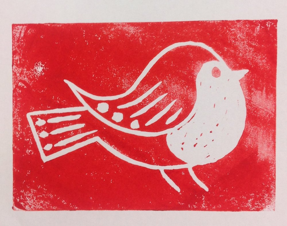 Lino print robin