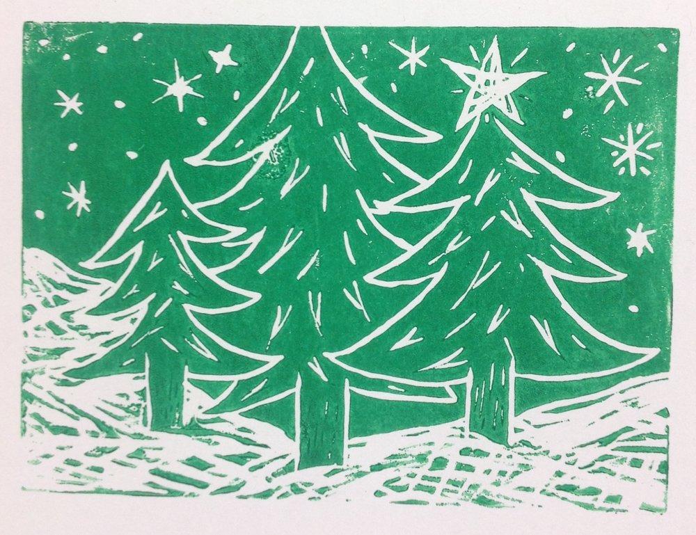 Lino print Xmas trees