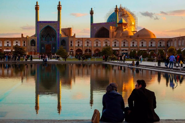 Citizens enjoy an afternoon at Naqsh-E Jahan Square, Isfahan Province, Isfahan.