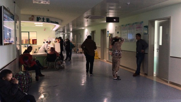 Zhu stayed at the City Children Hospital. Since the building was crowded, he stayed in a bed in the hallway.