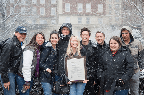While blizzard conditions are not uncommon, the March 2015 snow limited the celebrations outside Learner Hall at Columbia University after The Feather won the Digital Gold News Crown.