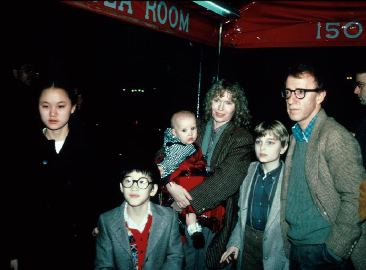 Photo taken from Google, Allen (R) with Mia Farrow (holding Dylan), with her children (Soon-Yi on the left)