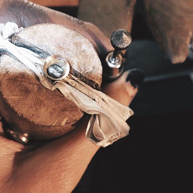 Dirty paws 🐾 setting a beautiful stoneeee! So excited to show you! • • #wilder #wilderjewellery #alternativeengagementring #jewellery #jewelry #gold #goldring #goldjewellery #14ctgold #moonstone #rings #atthebench #handmade #showmeyourhands #bespoke #bespokejewellery #jewellerydesign #lifeofajeweller #shopsmall #smallbusinesslove #shopindependent #madeinbristol