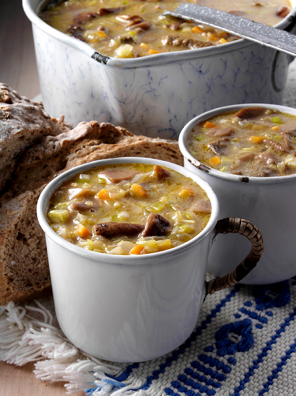 Mugs of Polish mushroom soup